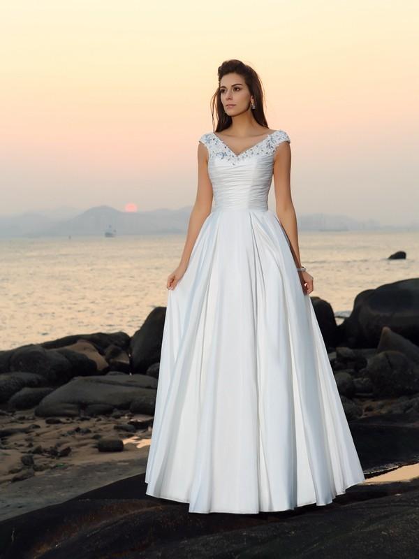 A-Linje/Prinsesse V-hals Perlebesydd Ermeløs Lange Taft Strand Brudekjoler