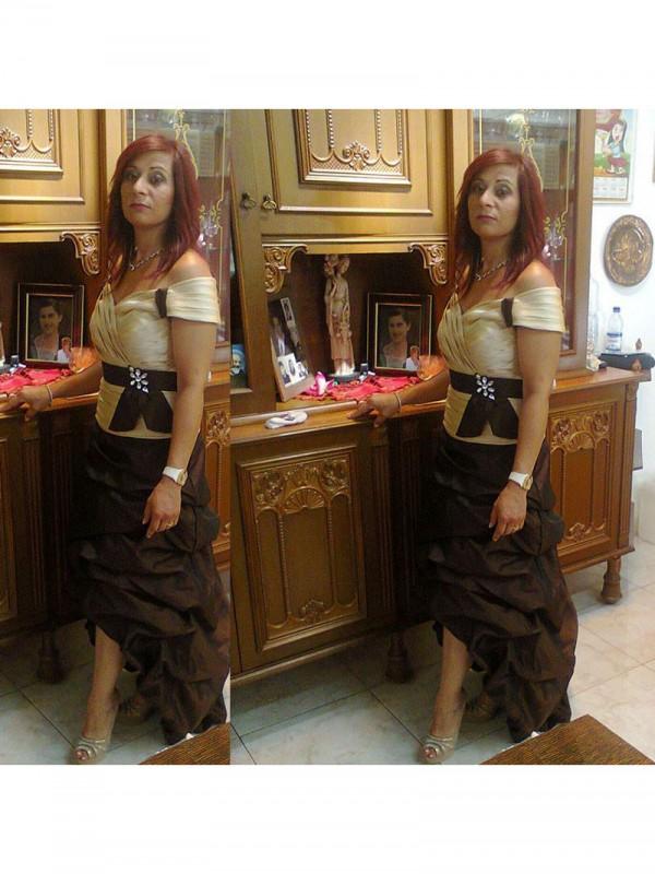 Kappe/Kolonne Off-the-Shoulder Sash/Pyntebånd/Belte Sateng Asymmetrisk Kjoler til Brudens Mor