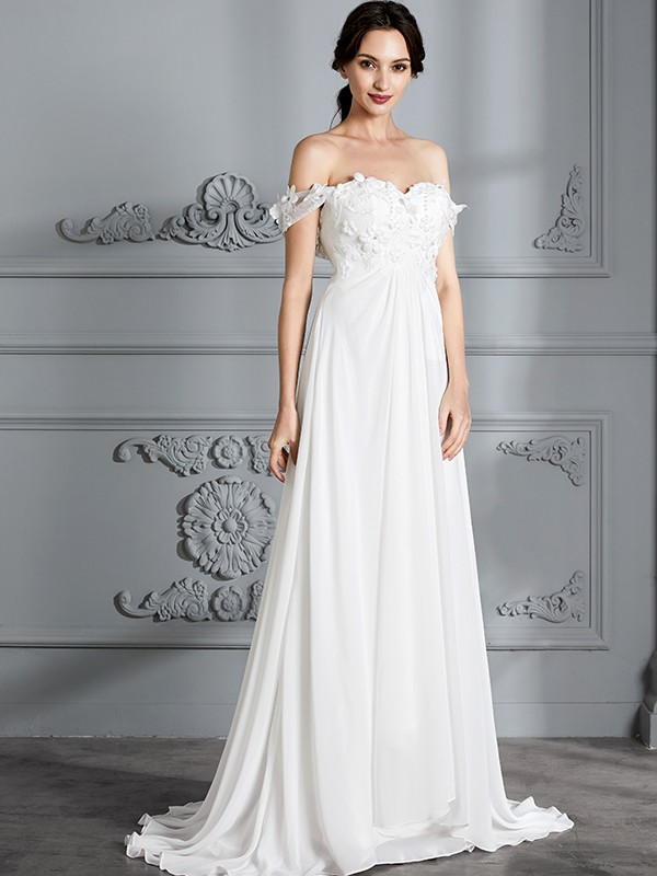 e0b06231 ... A-Line/Princess Off-the-Shoulder Sleeveless Chiffon Floor-Length  Wedding ...