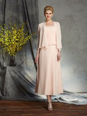 A-Linje/Prinsesse Stropper Applikasjoner Ermeløs Kort Chiffong Kjoler til Brudens Mor