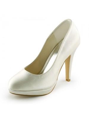 Women's Beautiful Sateng Stiletto Heel Closed Toe Platform Elfenben Brudesko