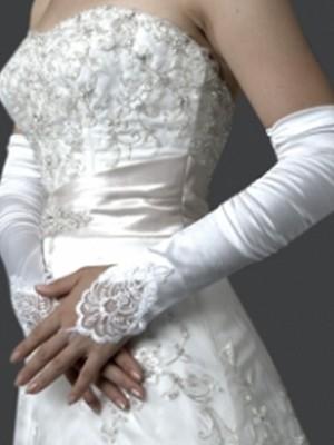Elastic Sateng Embroidery Elbow Bryllupshansker