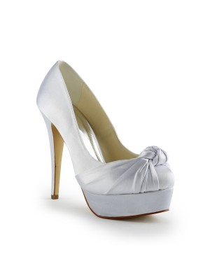 Women's Gorgeous Sateng Stiletto Heel Pumps With Ruched Hvit Brudesko