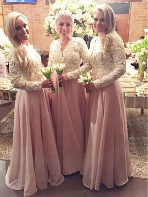 A-Linje/Prinsesse Lange ermer V-hals Gulvlengde Blonder Chiffong Brudepikekjoler