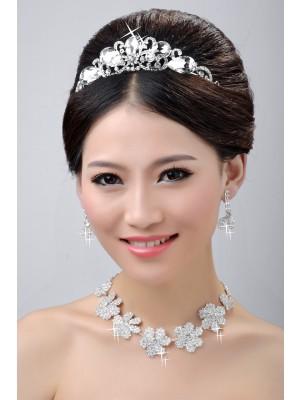 Stunning Wedding Hodepynt Halskjede øredobber Set