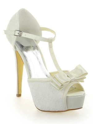 Women's Sateng Blonder Platform Peep Toe With Sløyfe Stiletto Heel Hvit Brudesko