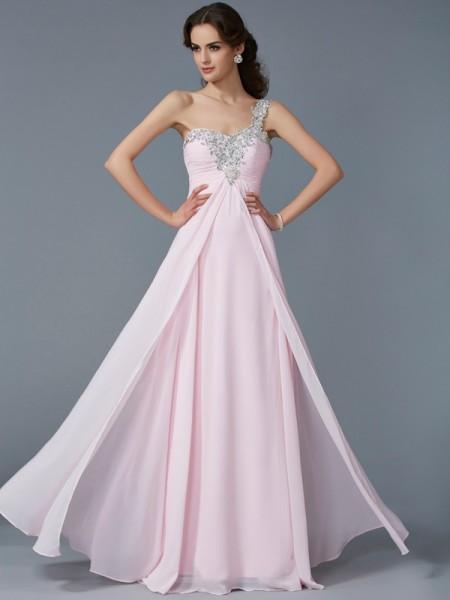 A-Linje/Prinsesse En Skuldret Applikasjoner Ermeløs Perlebesydd Lange Chiffong Kjole