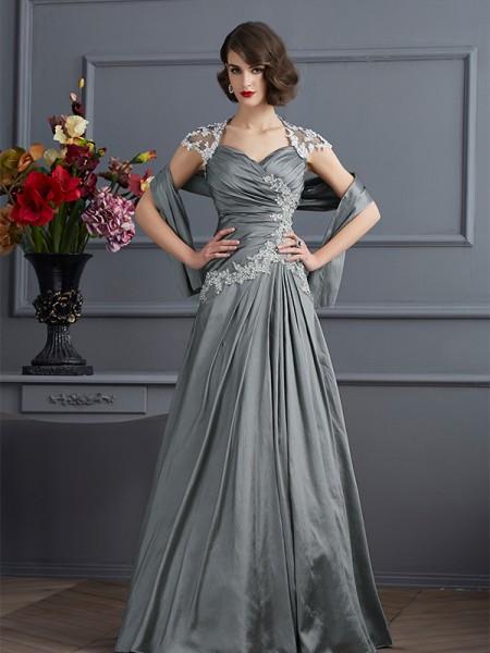 A-Linje/Prinsesse Sweetheart Kort erme Perlebesydd Lange Taft Kjole