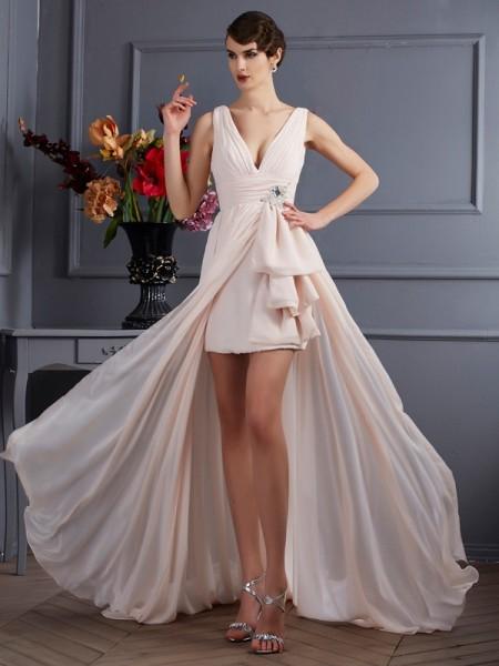 A-Linje/Prinsesse Stropper Ermeløs Perlebesydd Lange Chiffong Kjole