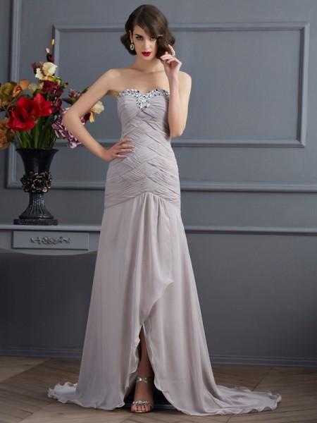 A-Linje/Prinsesse Sweetheart Ermeløs Perlebesydd Lange Chiffong Kjole