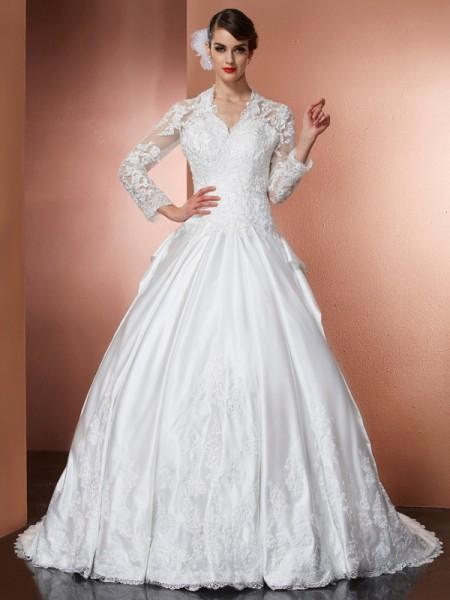 A-Linje/Prinsesse V-hals Lange ermer Applikasjoner Lange Sateng Brudekjoler