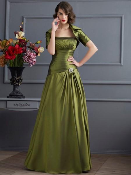 A-Linje/Prinsesse Stroppløs Ermeløs Perlebesydd Lange Taft Kjoler til Brudens Mor