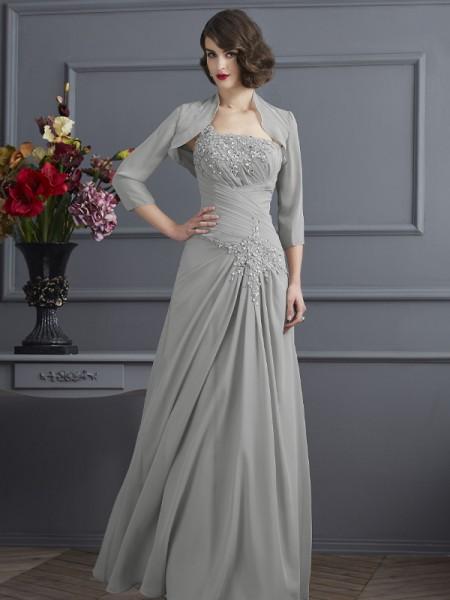 A-Linje/Prinsesse En Skuldret Ermeløs Perlebesydd Lange Chiffong Kjoler til Brudens Mor