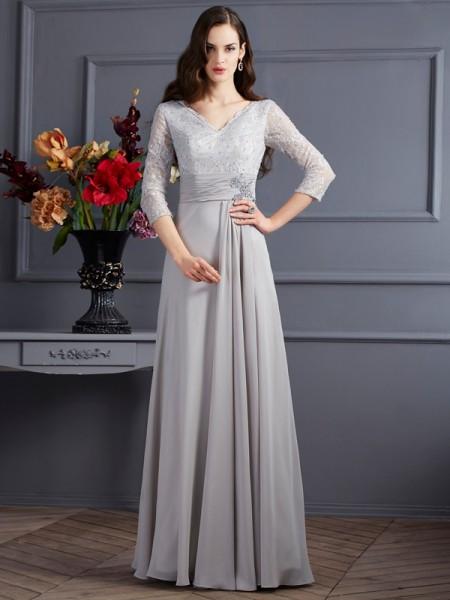 A-Linje/Prinsesse V-hals 3/4 Ermer Applikasjoner Lange Chiffong Kjoler til Brudens Mor