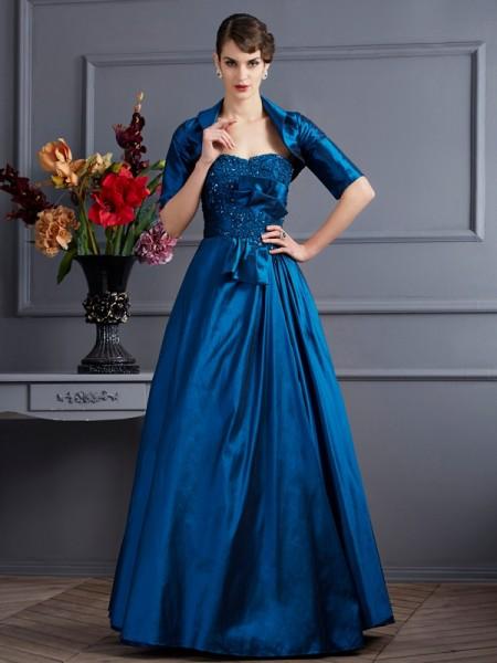 A-Linje/Prinsesse Sweetheart Ermeløs Applikasjoner Lange Taft Kjoler til Brudens Mor