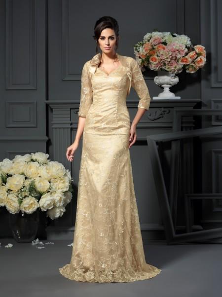 A-Linje/Prinsesse V-hals Blonder Ermeløs Lange Elastisk sateng Kjoler til Brudens Mor