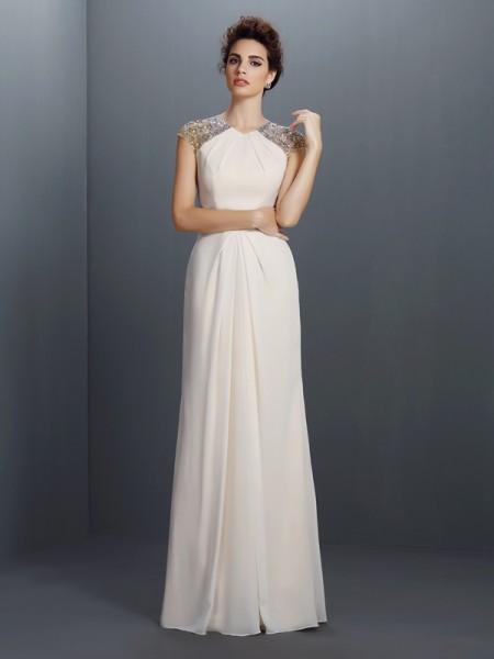 A-Linje/Prinsesse Juvel Perlebesydd Ermeløs Lange Chiffong Kjole