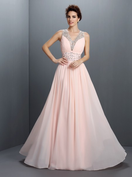 A-Linje/Prinsesse V-hals Perlebesydd Ermeløs Lange Chiffong Kjole