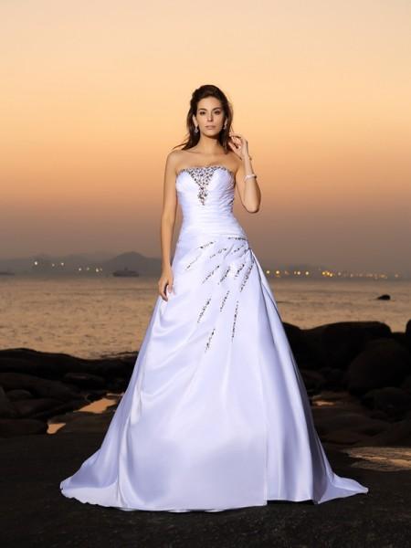 A-Linje/Prinsesse Stroppløs Perlebesydd Ermeløs Lange Sateng Strand Brudekjoler
