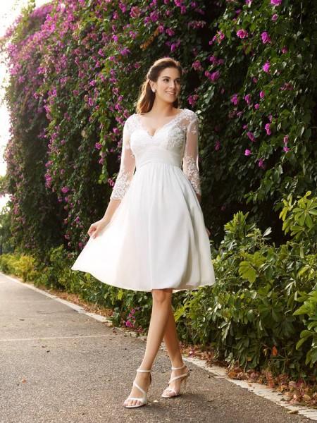 A-Linje/Prinsesse V-hals 3/4 Ermer Kort Chiffong Brudekjoler