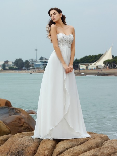 A-Linje/Prinsesse Sweetheart Perlebesydd Ermeløs Lange Chiffong Strand Brudekjoler