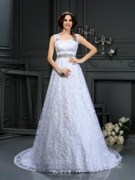 A-Linje/Prinsesse V-hals Blonder Ermeløs Lange Sateng Brudekjoler