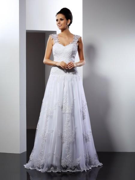 A-Linje/Prinsesse Stropper Applikasjoner Ermeløs Lange Blonder Brudekjoler