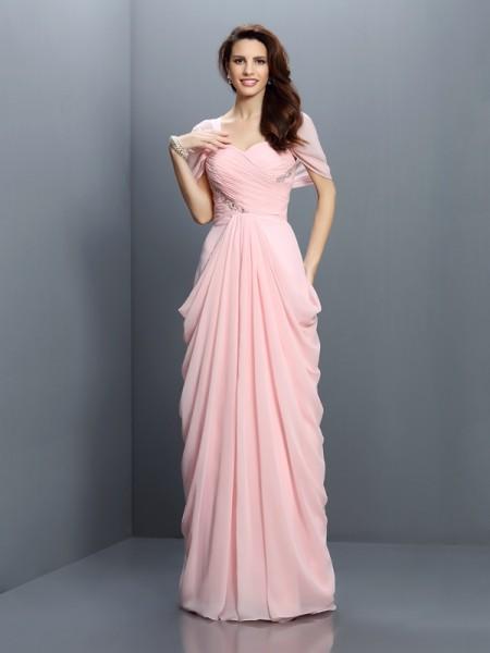 A-Linje/Prinsesse Sweetheart Plissert Kort erme Lange Chiffong Brudepikekjoler