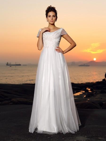 A-Linje/Prinsesse Off-the-Shoulder Perlebesydd Kort erme Lange Tyll Strand Brudekjoler