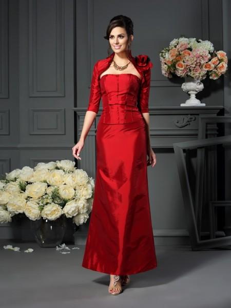 A-Linje/Prinsesse Stroppløs Håndlaget blomst Ermeløs Lange Taft Kjoler til Brudens Mor