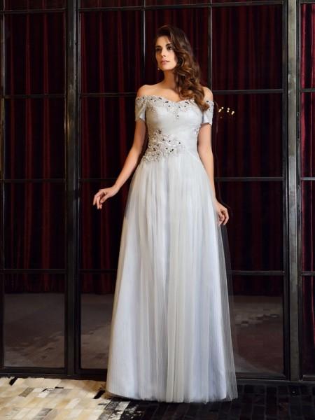 A-Linje/Prinsesse Off-the-Shoulder Perlebesydd Ermeløs Lange Netting Kjole
