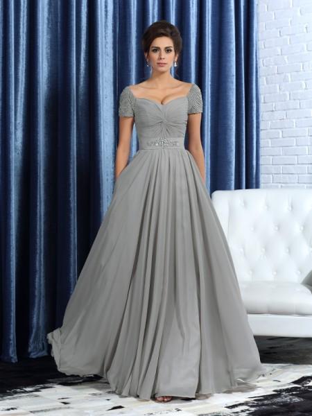 A-Linje/Prinsesse Sweetheart Perlebesydd Kort erme Lange Chiffong Kjoler til Brudens Mor