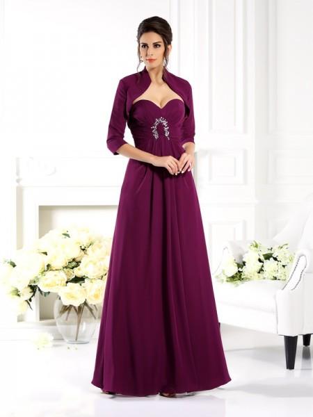 A-Linje/Prinsesse Sweetheart Perlebesydd Ermeløs Lange Chiffong Kjoler til Brudens Mor