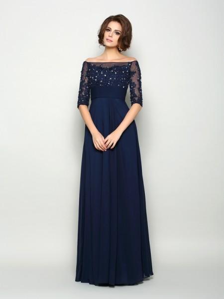 A-Linje/Prinsesse Off-the-Shoulder Perlebesydd Halvlang Lange Chiffong Kjoler til Brudens Mor