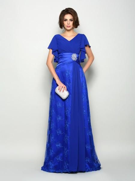 A-Linje/Prinsesse V-hals Applikasjoner Kort erme Lange Chiffong Kjoler til Brudens Mor