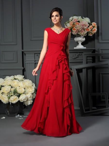 A-Linje/Prinsesse V-hals Håndlaget blomst Ermeløs Lange Chiffong Kjoler til Brudens Mor