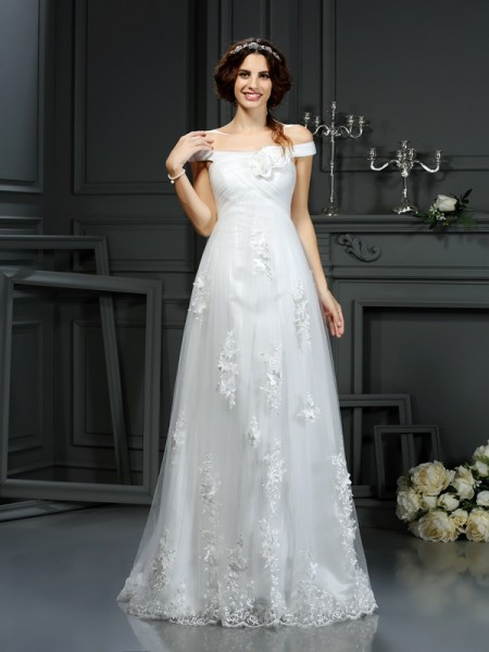 A-Linje/Prinsesse Off-the-Shoulder Applikasjoner Ermeløs Lange Netting Brudekjoler