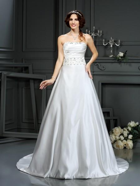 A-Linje/Prinsesse Stroppløs Perlebesydd Ermeløs Lange Sateng Brudekjoler