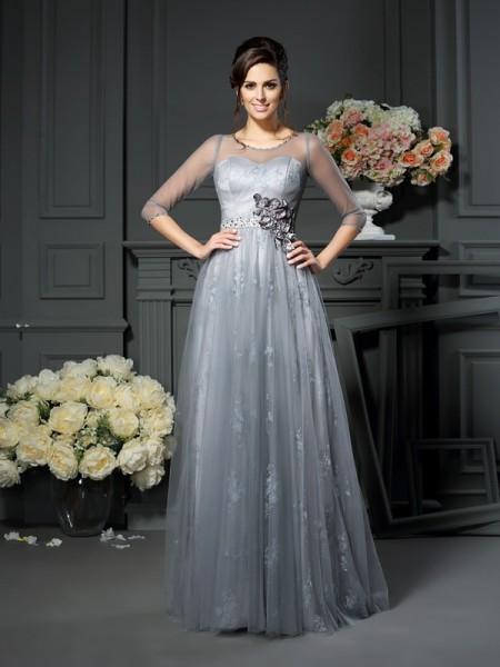 A-Linje/Prinsesse Scoop Blonder Halvlang Lange Sateng Kjoler til Brudens Mor