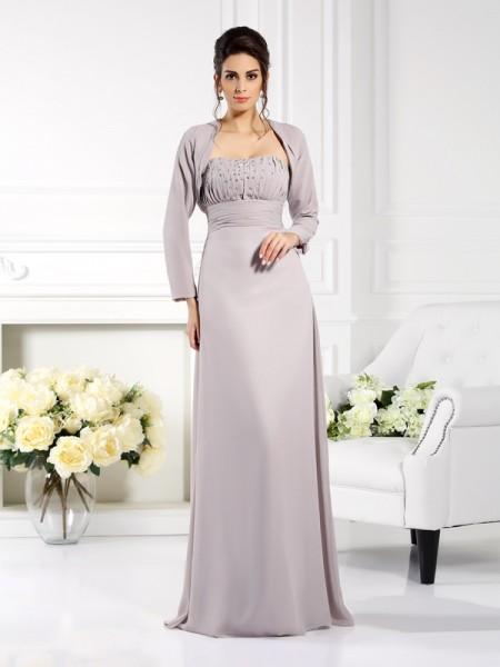 A-Linje/Prinsesse Stroppløs Perlebesydd Ermeløs Lange Chiffong Kjoler til Brudens Mor