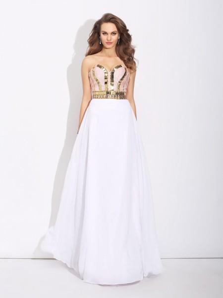 A-Linje/Prinsesse Sweetheart Perlebesydd Ermeløs Lange Chiffong Kjole
