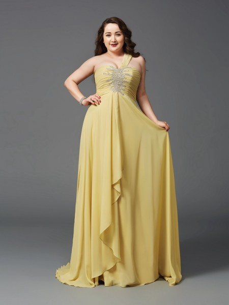 A-Linje/Prinsesse En Skuldret Rhinestone Ermeløs Lange Chiffong Pluss Størrelse Kjole