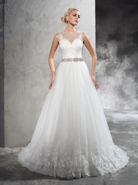 A-Linje/Prinsesse Sheer halsen Perlebesydd Ermeløs Lange Netting Brudekjoler