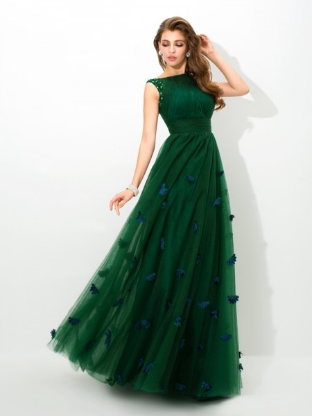 A-Linje/Prinsesse Sheer halsen Perlebesydd Ermeløs Lange Netting Kjole