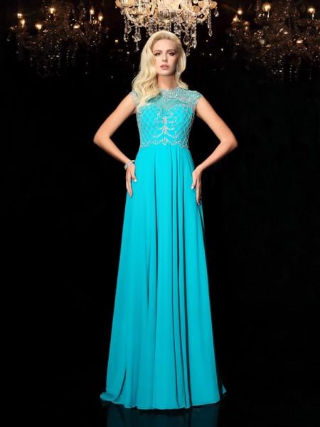A-Linje/Prinsesse Juvel Blonder Kort erme Lange Chiffong Kjole