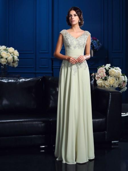 A-Linje/Prinsesse V-hals Applikasjoner Ermeløs Lange Chiffong Kjoler til Brudens Mor
