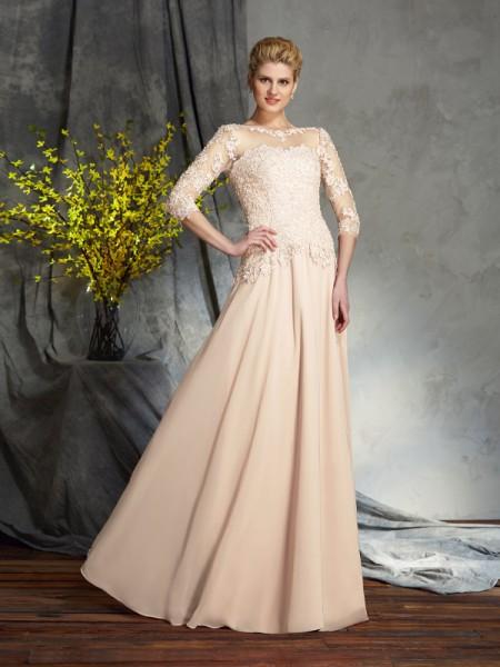 A-Linje/Prinsesse Scoop Applikasjoner 3/4 Ermer Lange Chiffong Kjoler til Brudens Mor