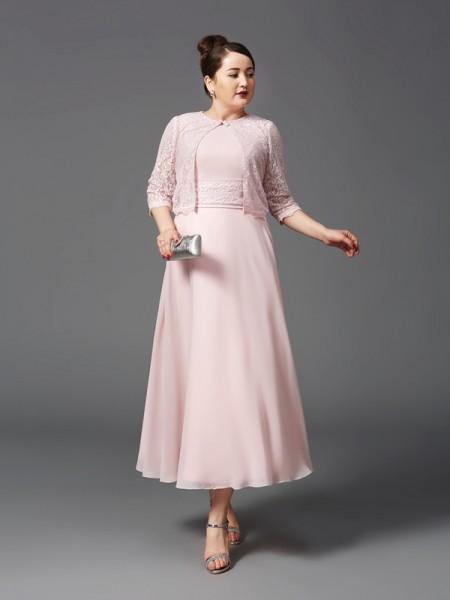 A-Linje/Prinsesse Juvel Blonder Ermeløs Lange Chiffong Kjoler til Brudens Mor