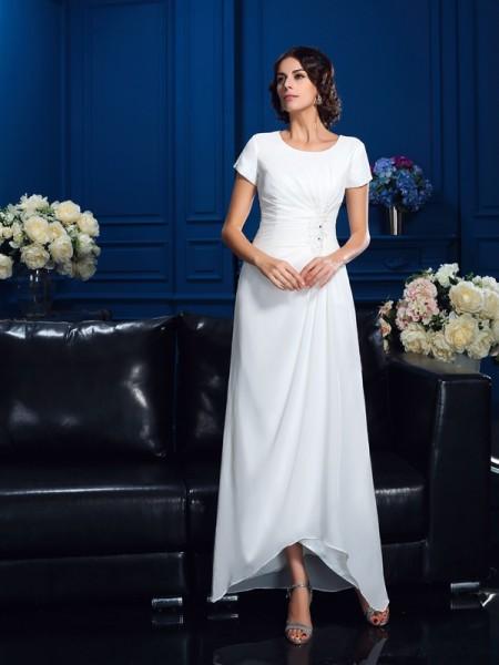A-Linje/Prinsesse Scoop Kort erme Høy Lav Chiffong Kjoler til Brudens Mor