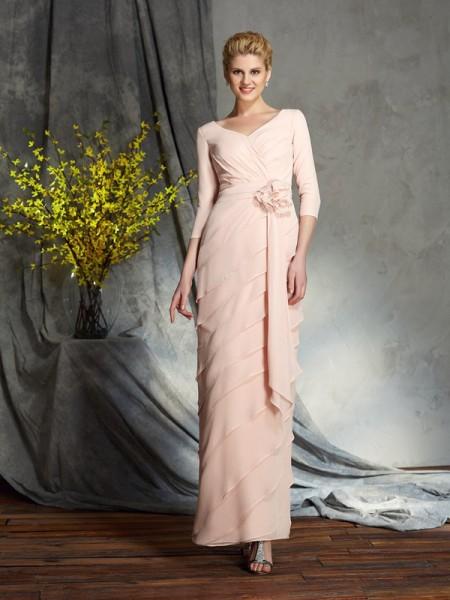 Kappe/Kolonne V-hals Håndlaget blomst 3/4 Ermer Lange Chiffong Kjoler til Brudens Mor